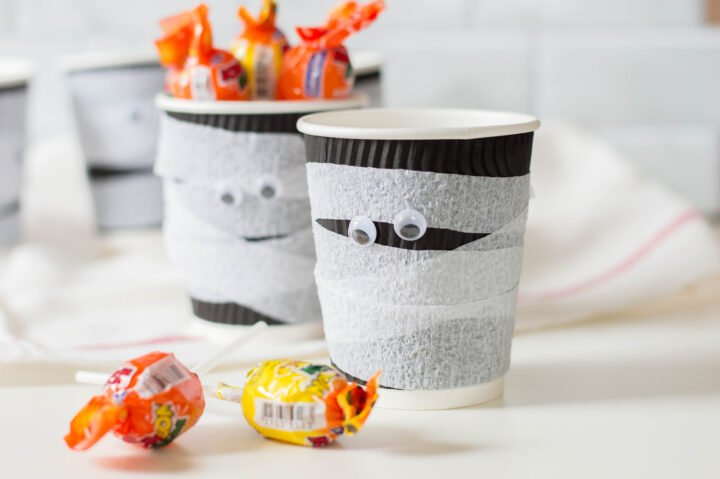 Mummy Halloween treat cups filled with candy