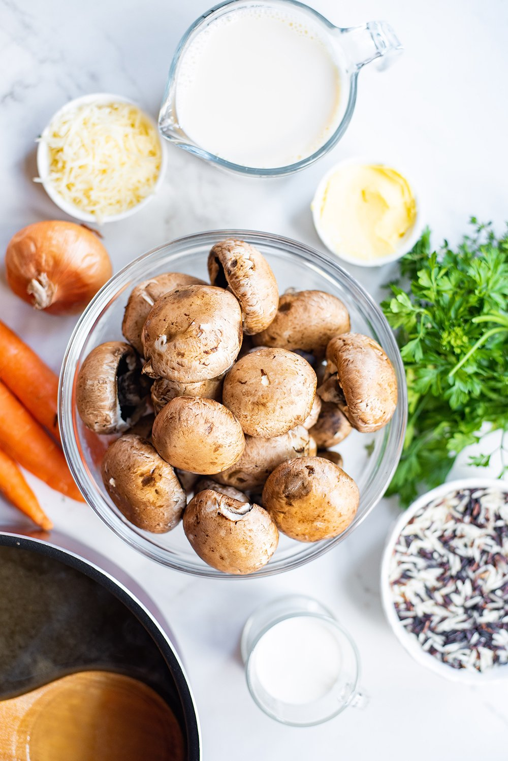 ingredients for mushroom + rice soup