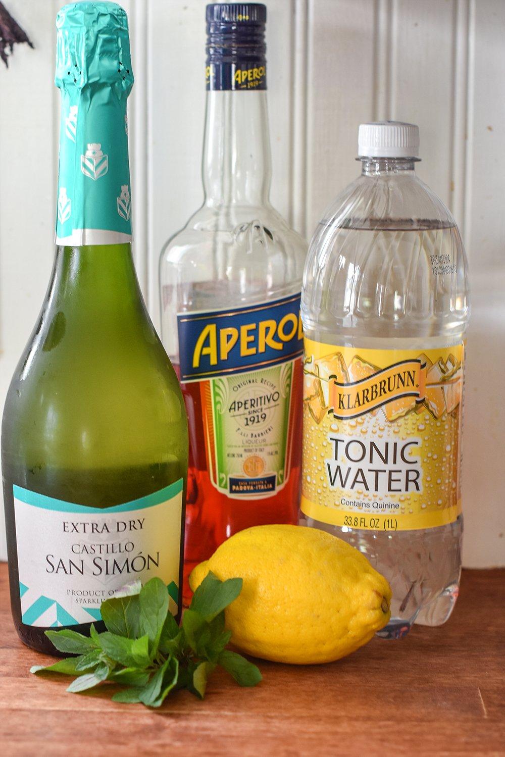 ingredients for Aperol wine spritzer