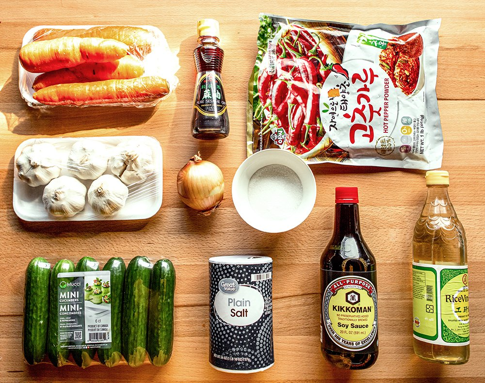 ingredients for cucumber kimchi