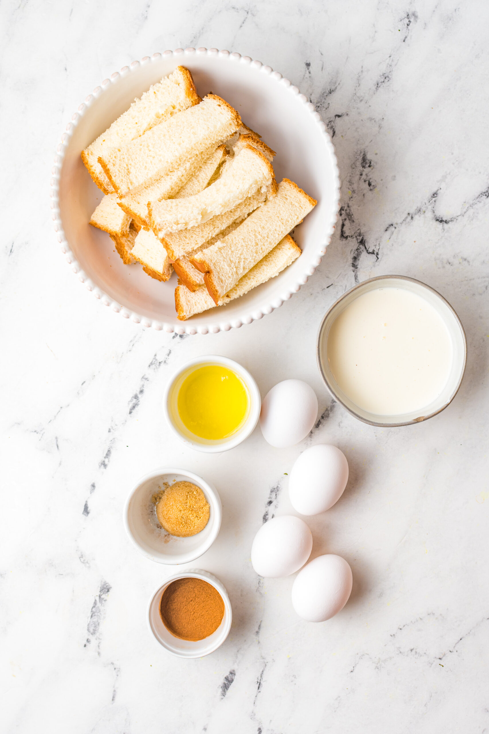 ingredients for French Toast sticks in the air fryer