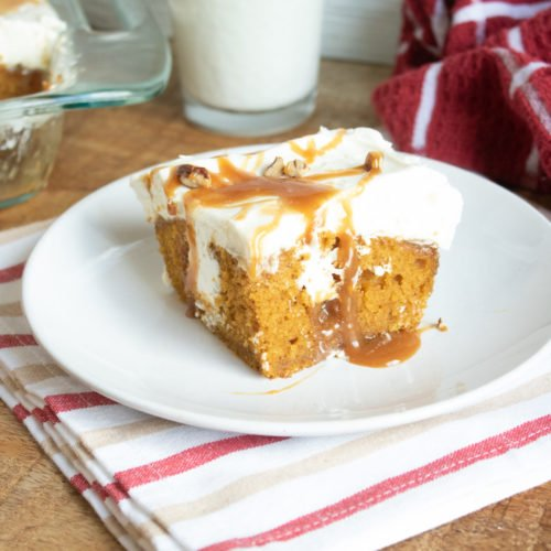 Pumpkin Poke Cake with cream cheese and caramel