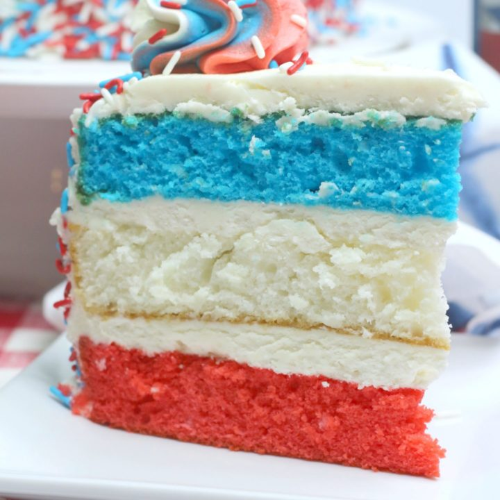 layered 4th of July cake