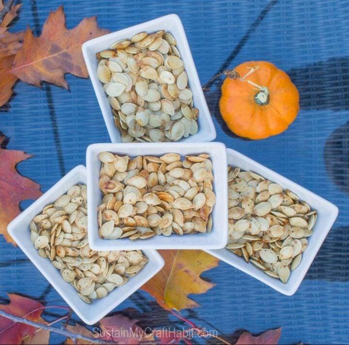 4 bowls of different kinds of pumpkin seeds.