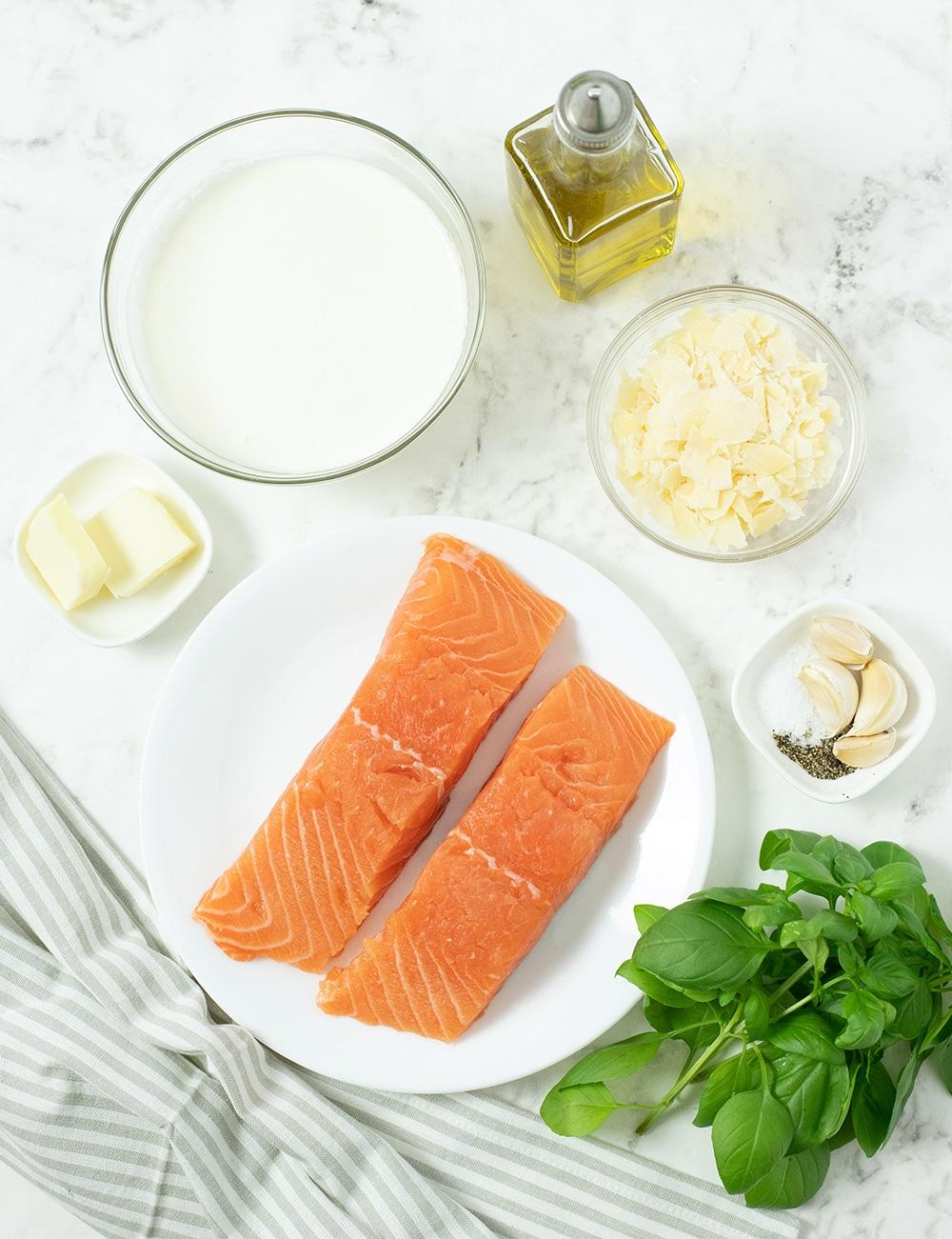 Ingredients for pan roasted salmon