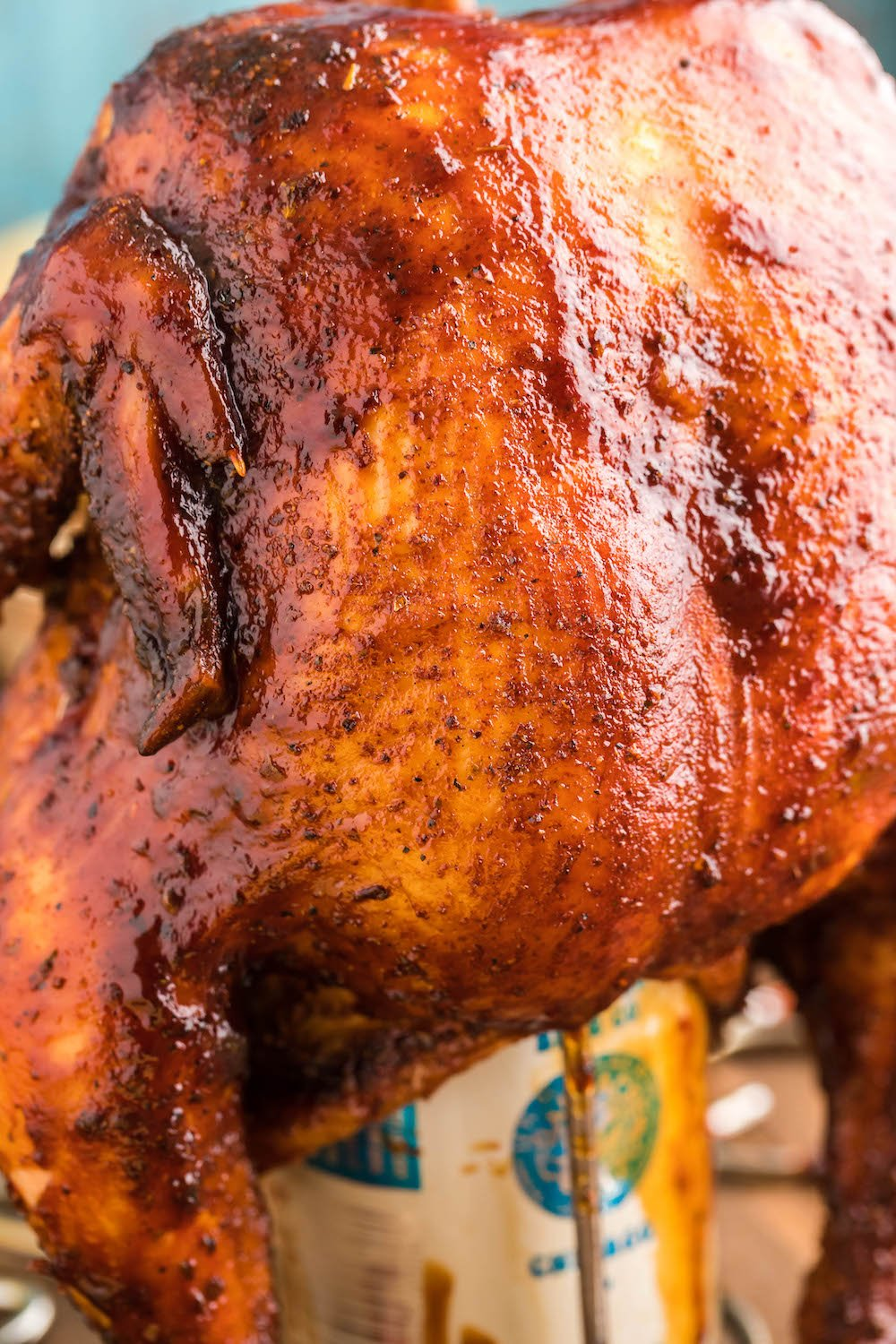 Beer Can chicken with bbq glaze