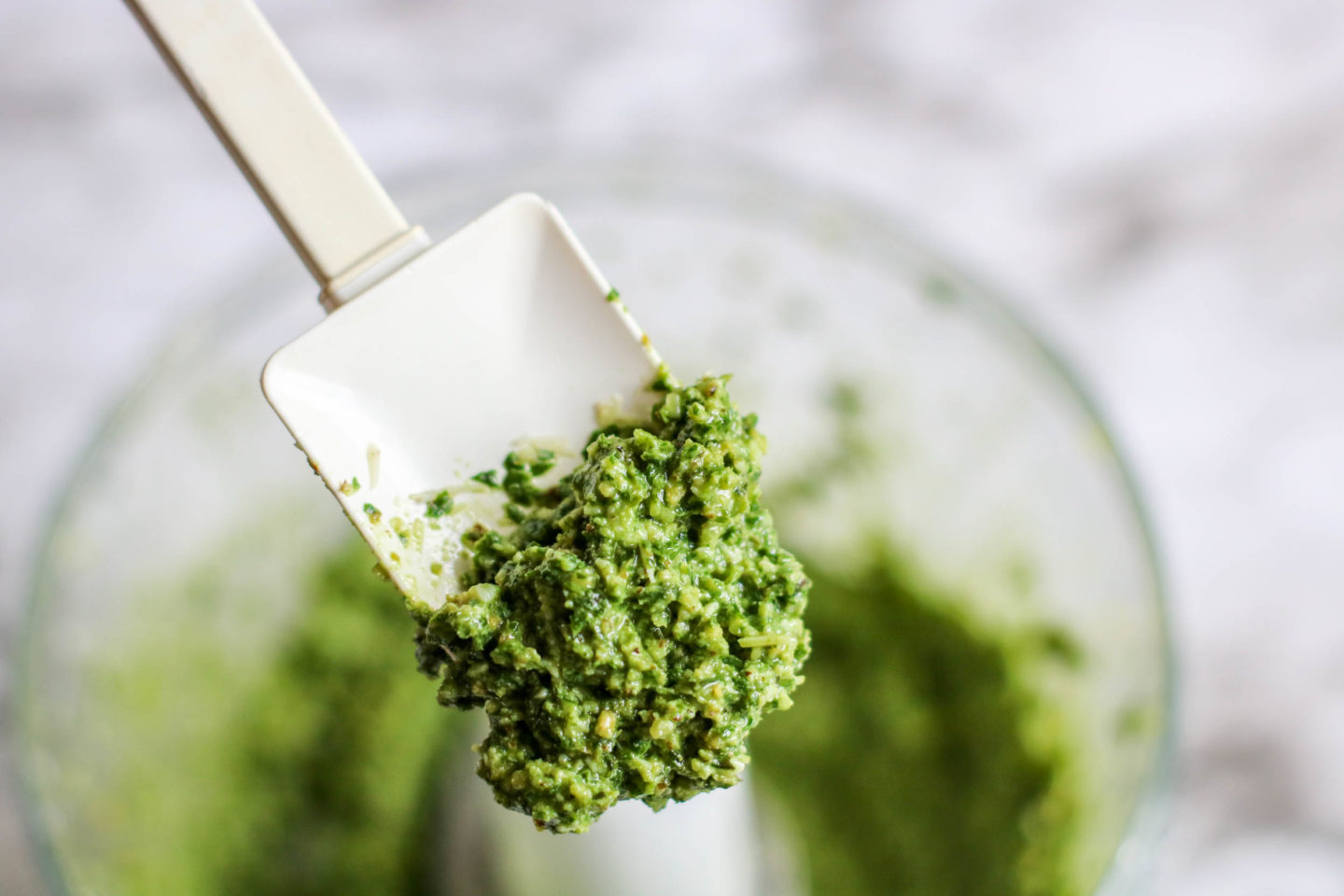 Beautiful pesto with a great texture and a bright green color. Fresh basil and walnut are paired up in this yummy recipe.