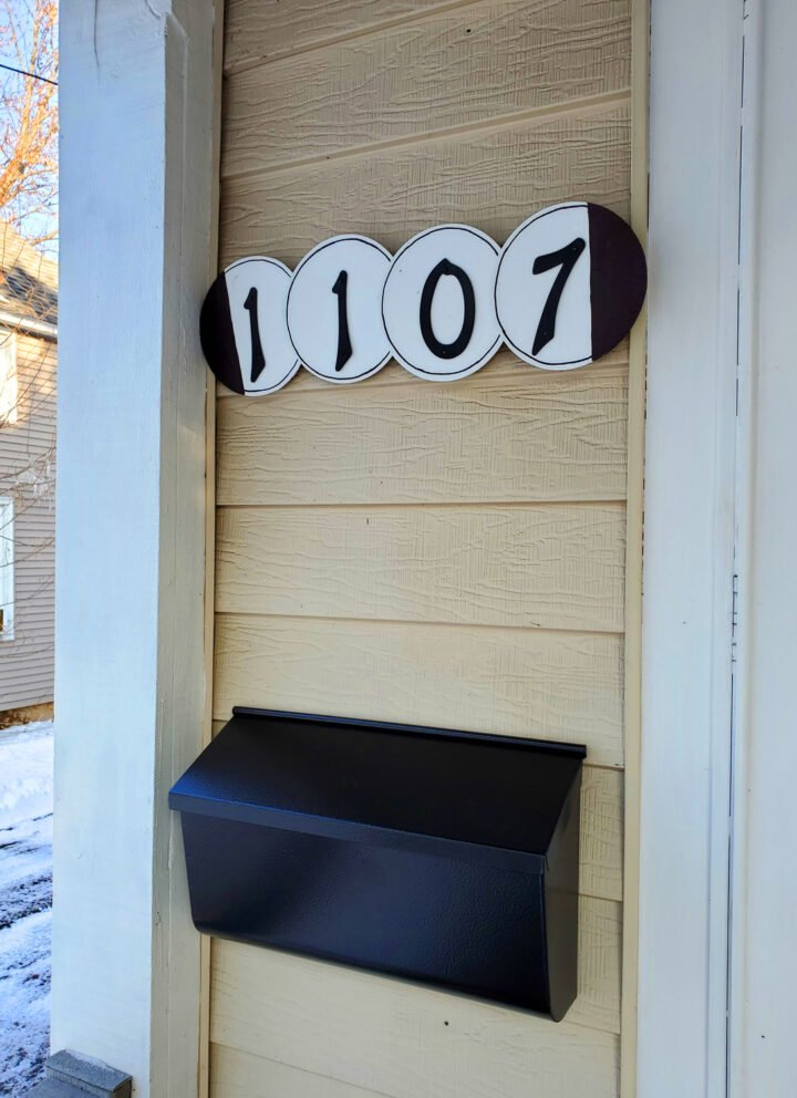 DIY address sign on front porch