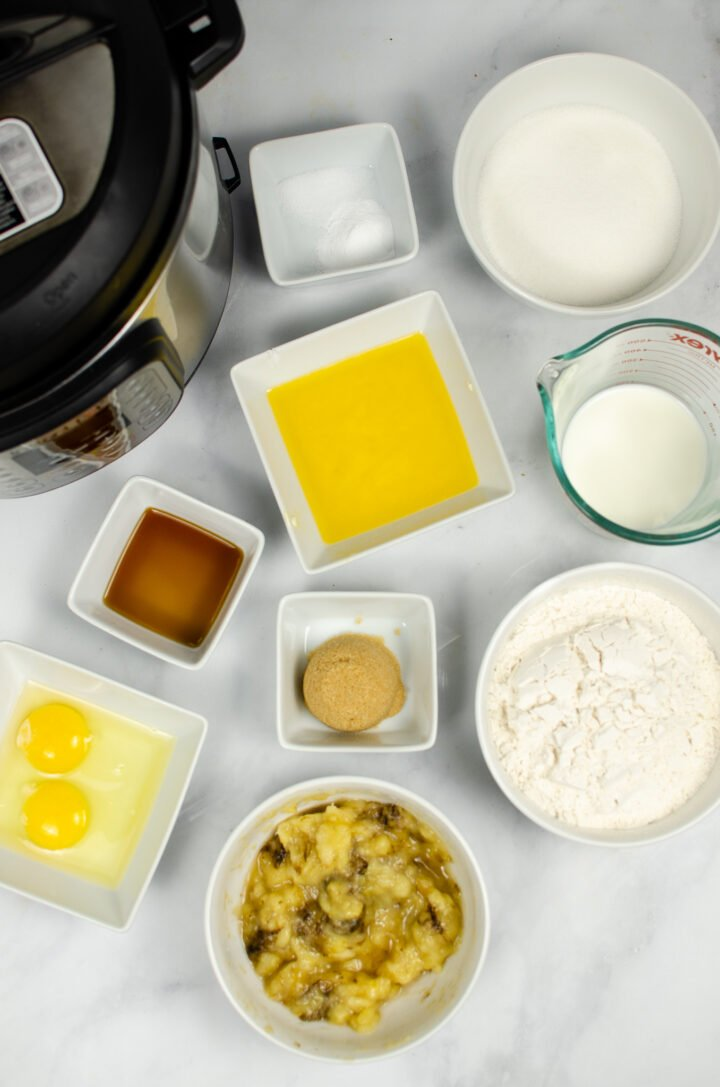 Ingredients for Instant Pot Banana Bread in a jar