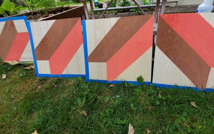 DIY barn quilt in process
