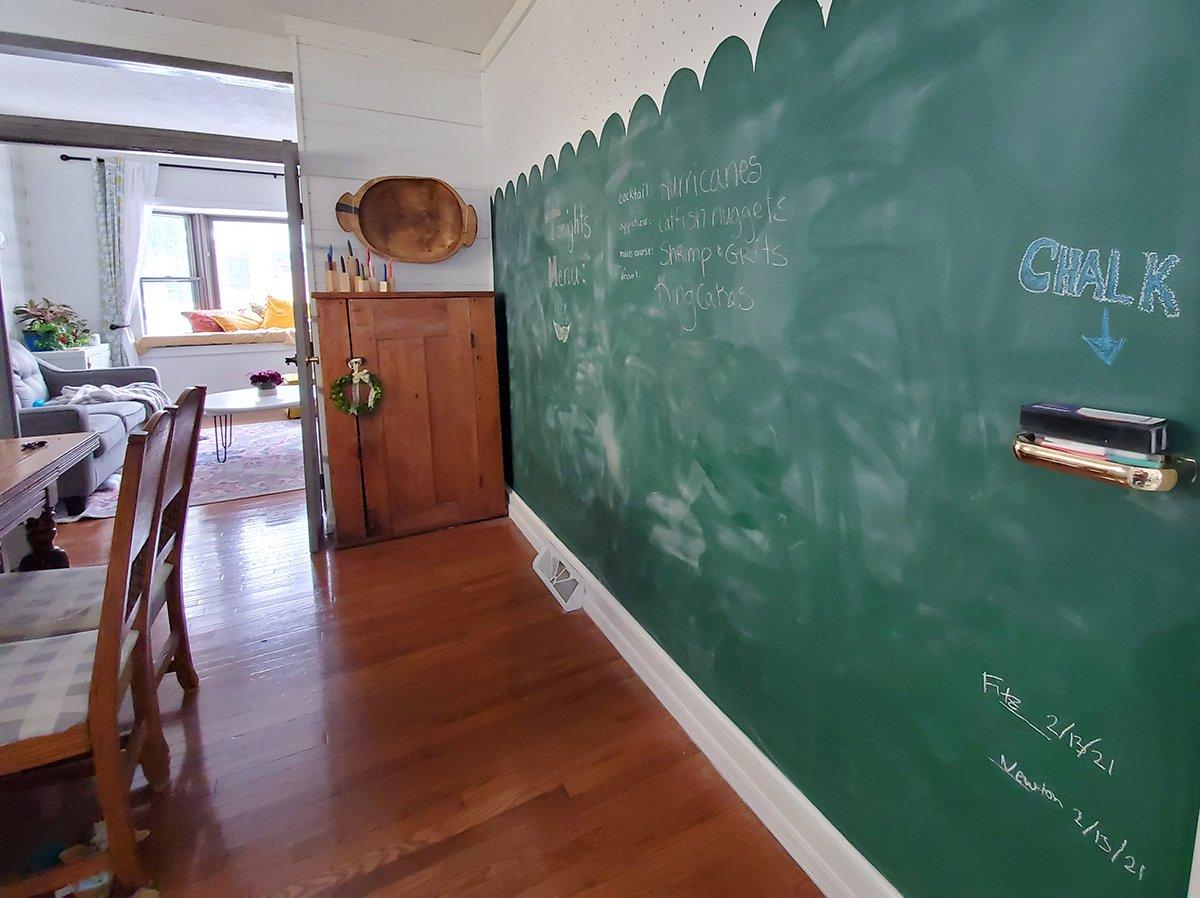 Schoolhouse green chalkboard wall in dining room