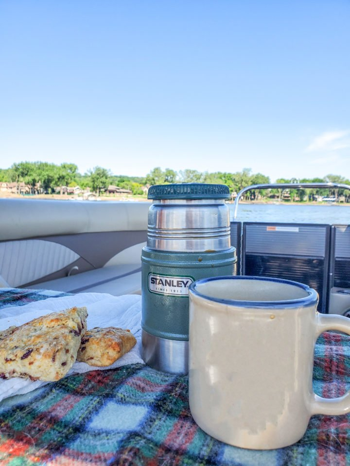 Coffee and scones on a pontoon on the St. Croix River