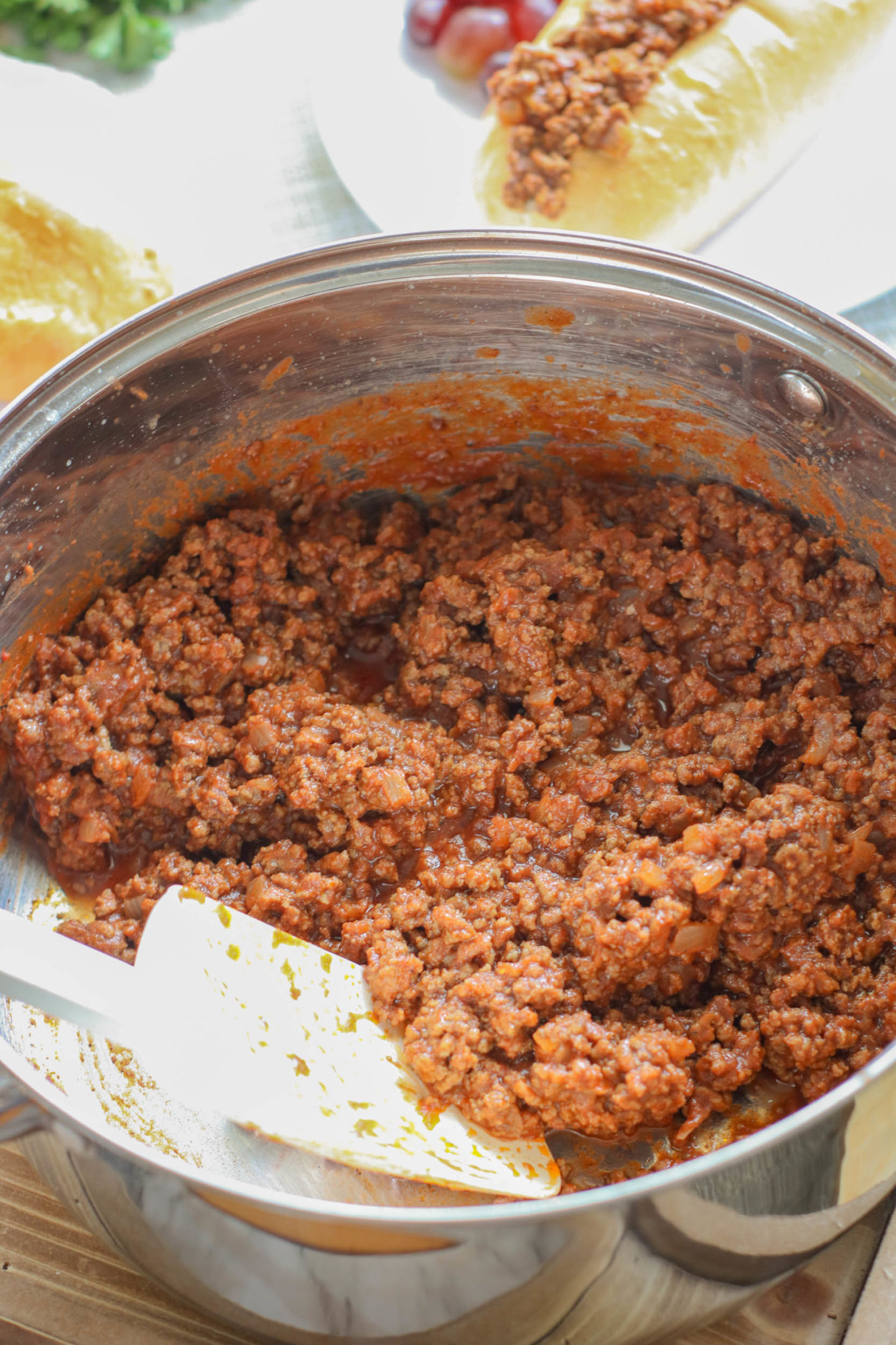 pan of homemade sloppy joe sauce