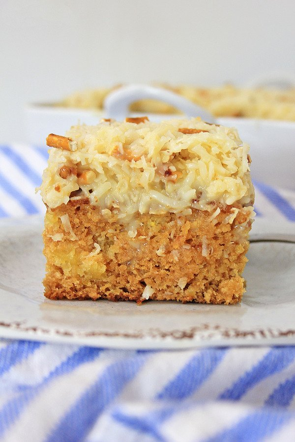 Do Nothing vintage cake recipe loaded with coconut and pineapple.