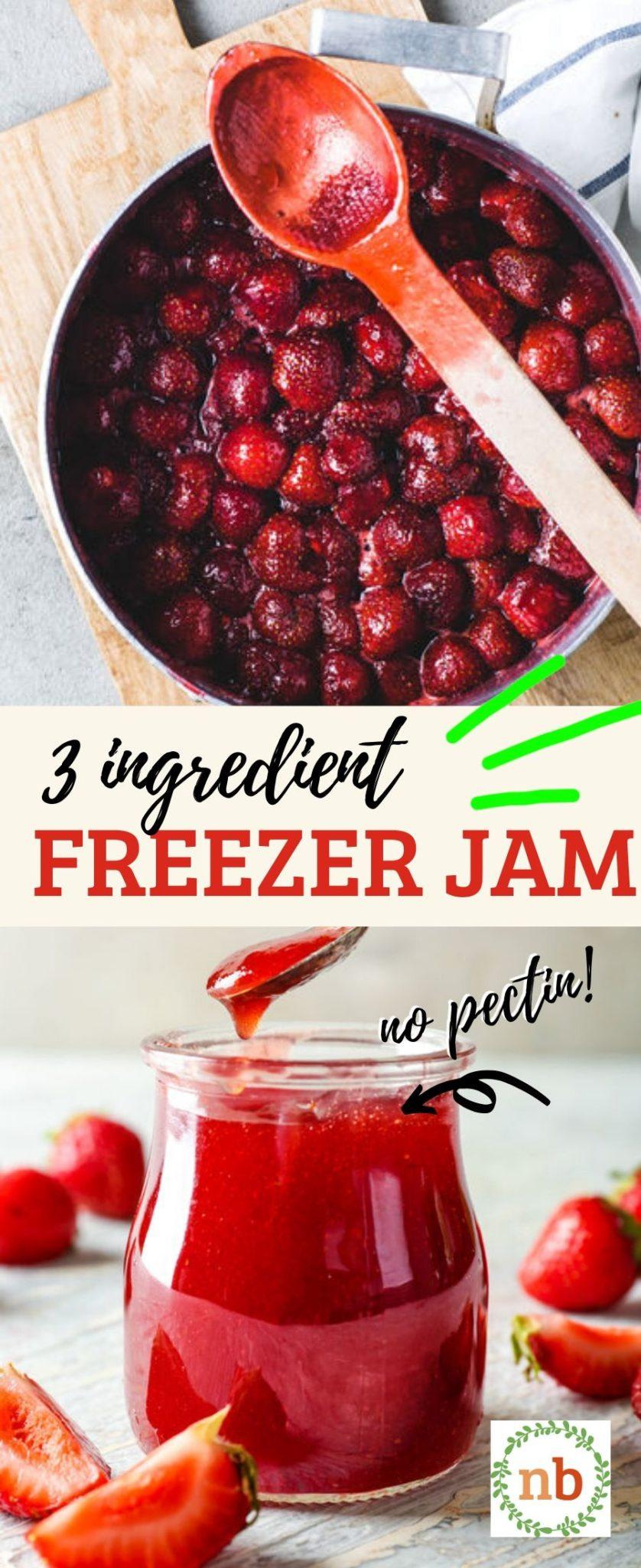 Easy Strawberry Freezer jam. No pectin and only 3 ingredients.