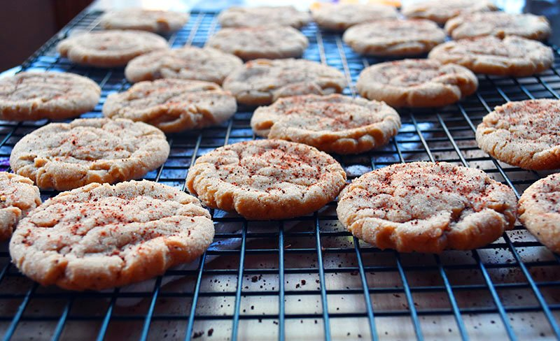 a big batch of ginger cookies on a cooling rack