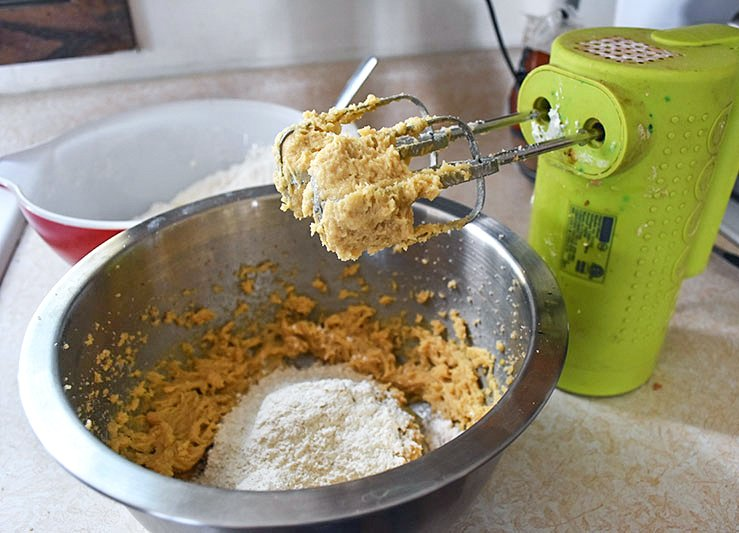 mixing up ginger cookies