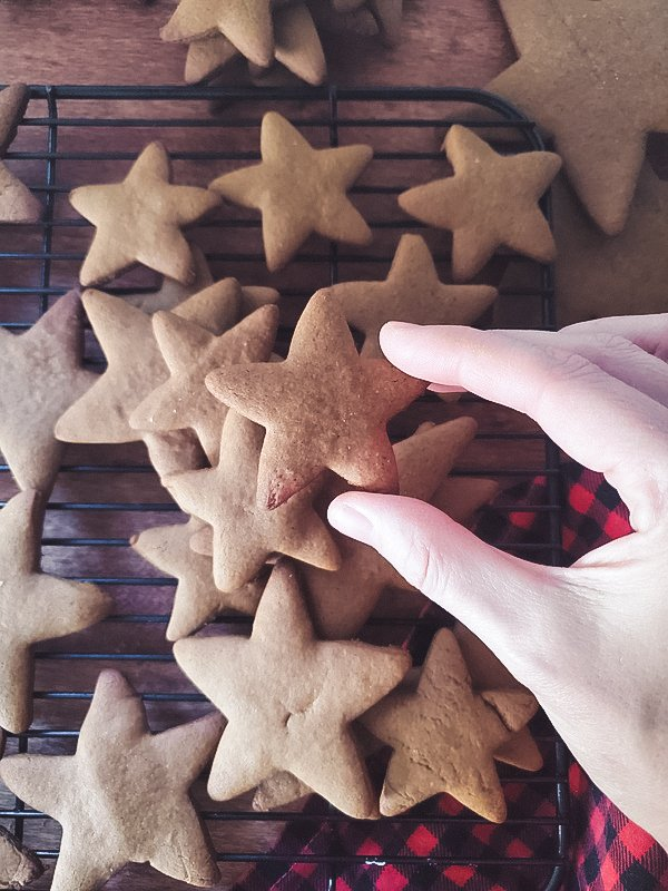 easy gingerbread cookie recipe perfect for cutouts and men.