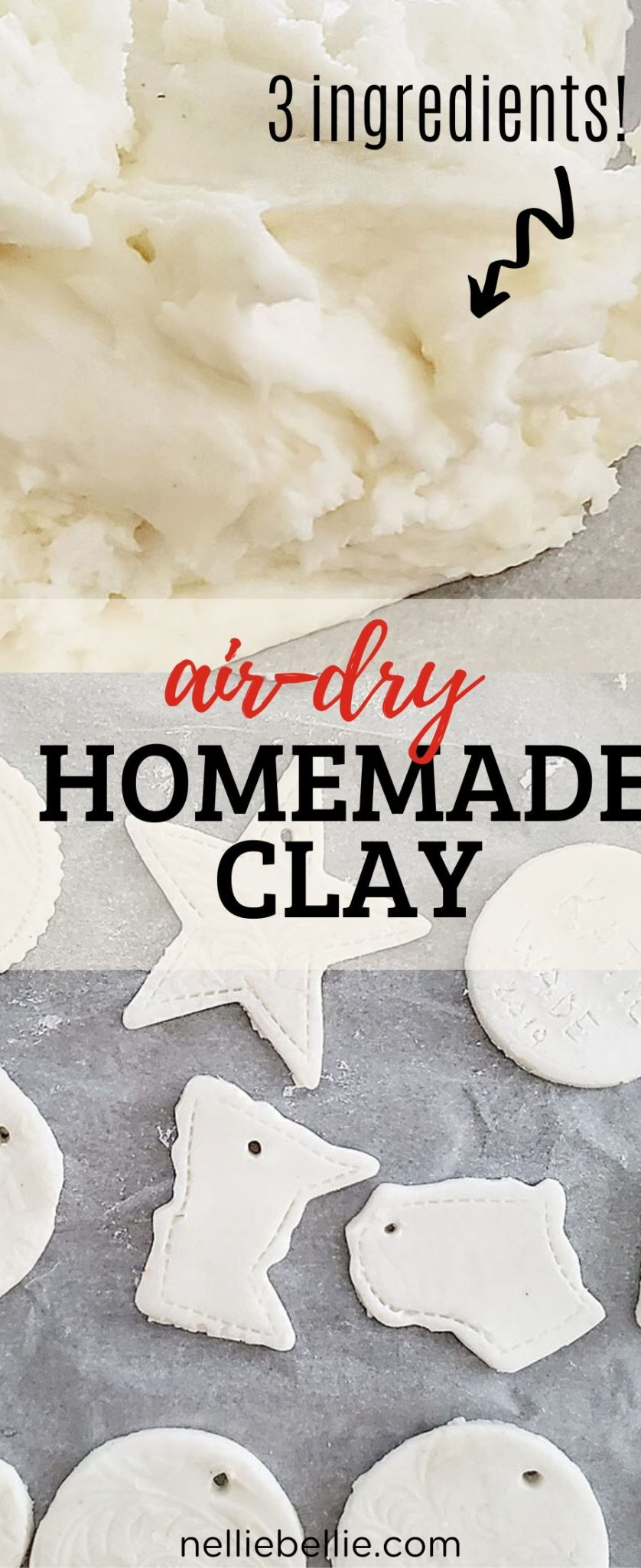 How to make your own DIY air dry clay recipe perfect for crafts, projects, and kids. And ideas for easy gifts and projects to make with it. Video included! #clay #DIY #airdry #recipe