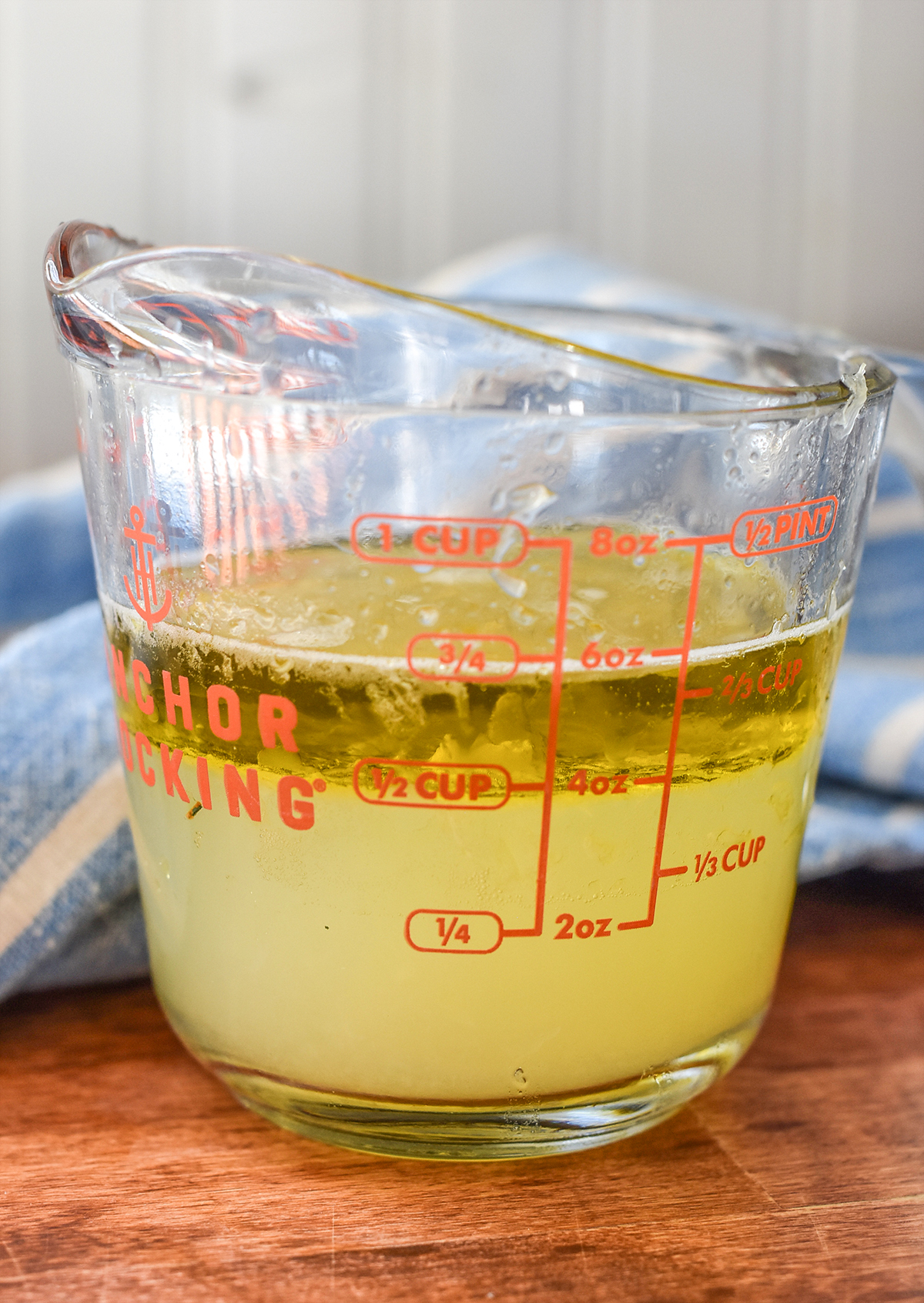 liquid in a measuring cup