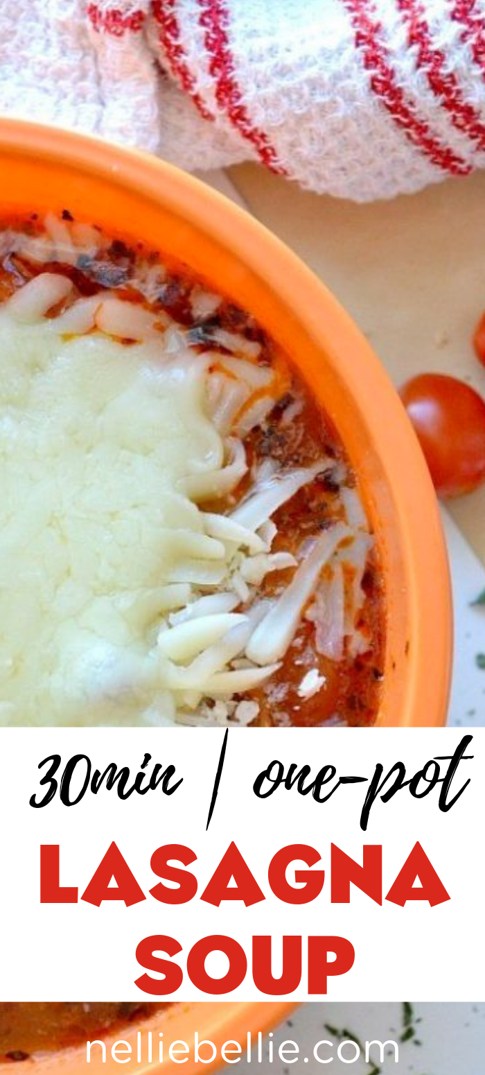 Hearty lasagna soup with ground beef or turkey. Quick, easy, and great for a family dinner! Only 30 minutes and one pot to make this soup!