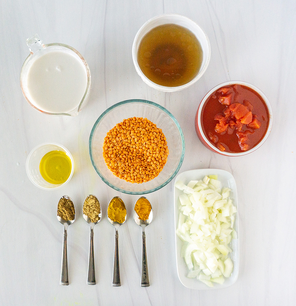 Ingredients for instant pot lentil curry