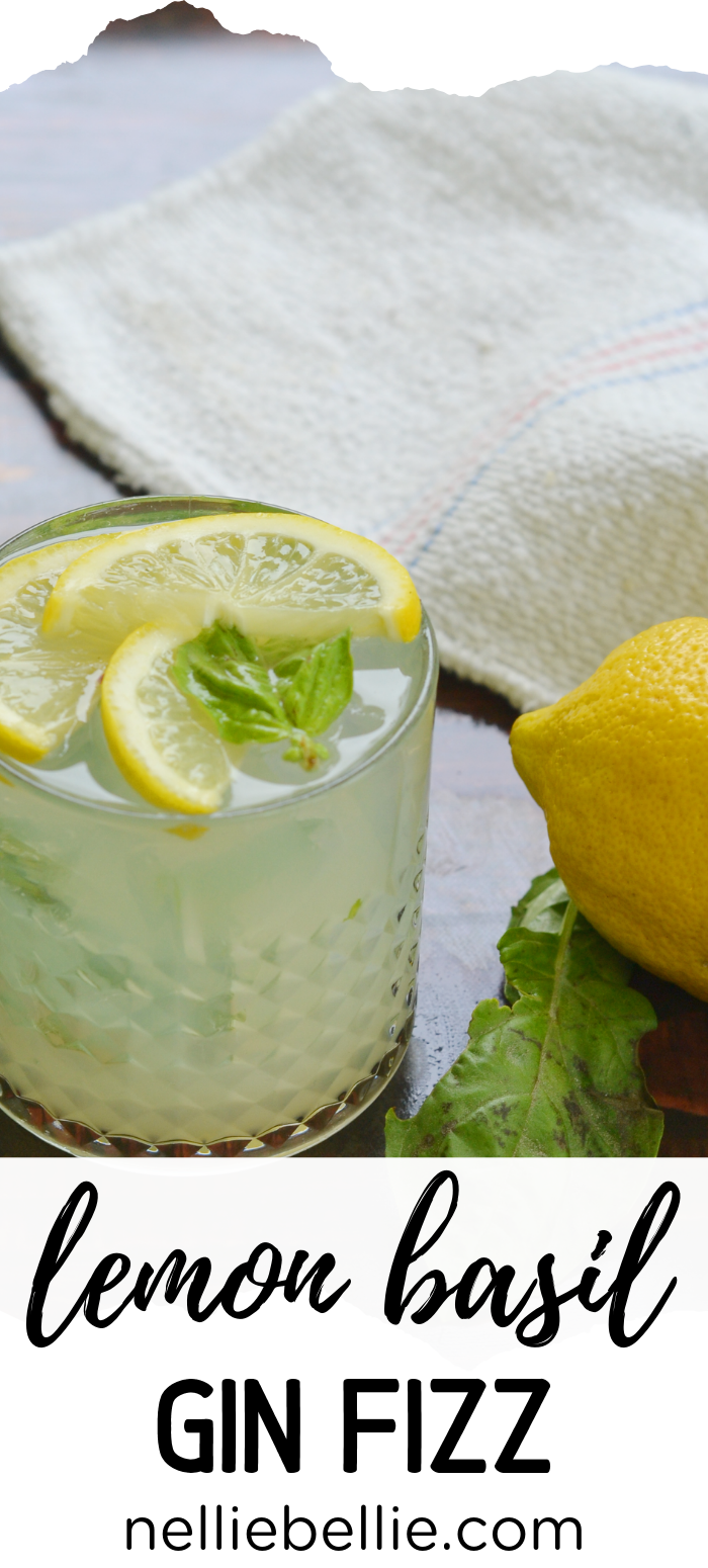 An easy summer cocktail recipe with fresh basil and bright lemon. Use gin or sub out bourbon, whiskey, or another favorite. #cocktail #easy #summer