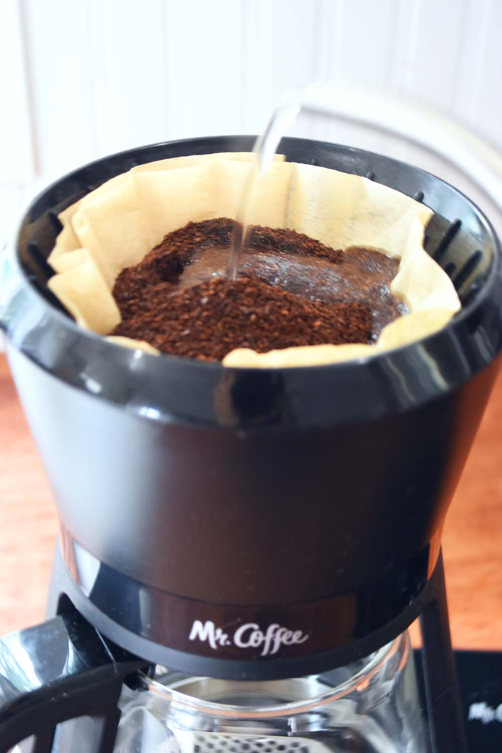 Pouring water into the Mr.Coffee Pour Over
