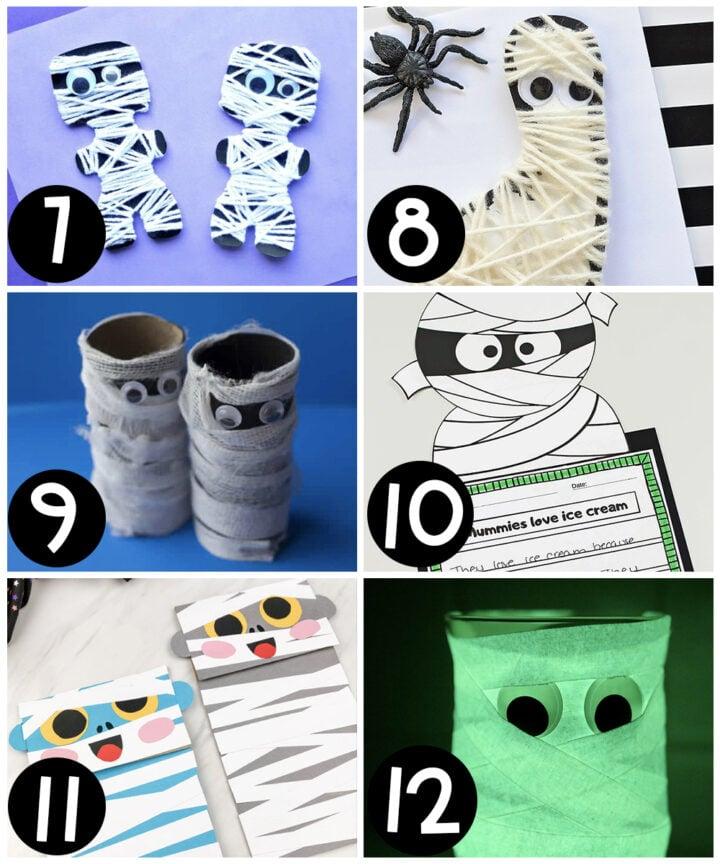Halloween crafts for kids featuring mummies
