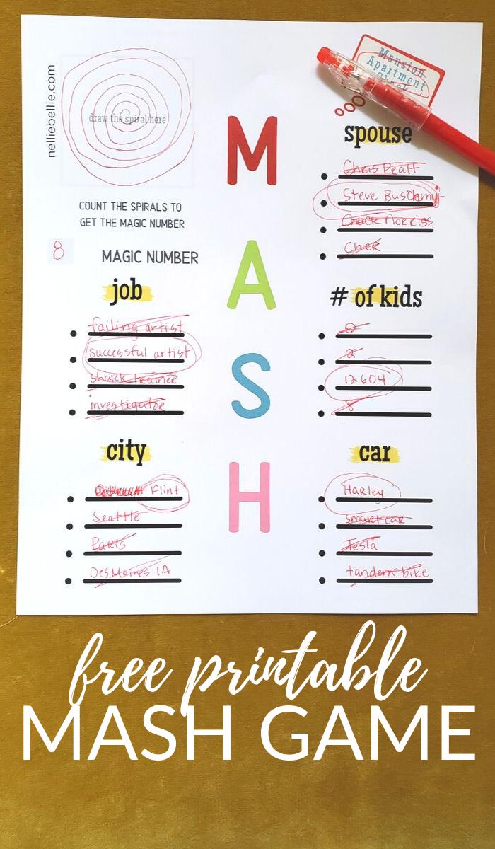 free printable MASH game.
