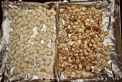 Pan of pumpkin seeds lined up to go into the oven