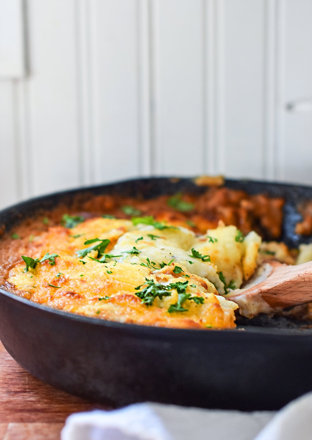 shepherds pie made up in a cast iron pan