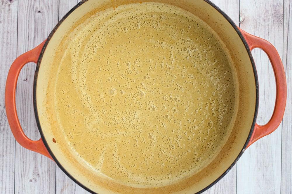 chowder base in a dutch oven pot