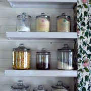 a shelf of glass jar for pantry