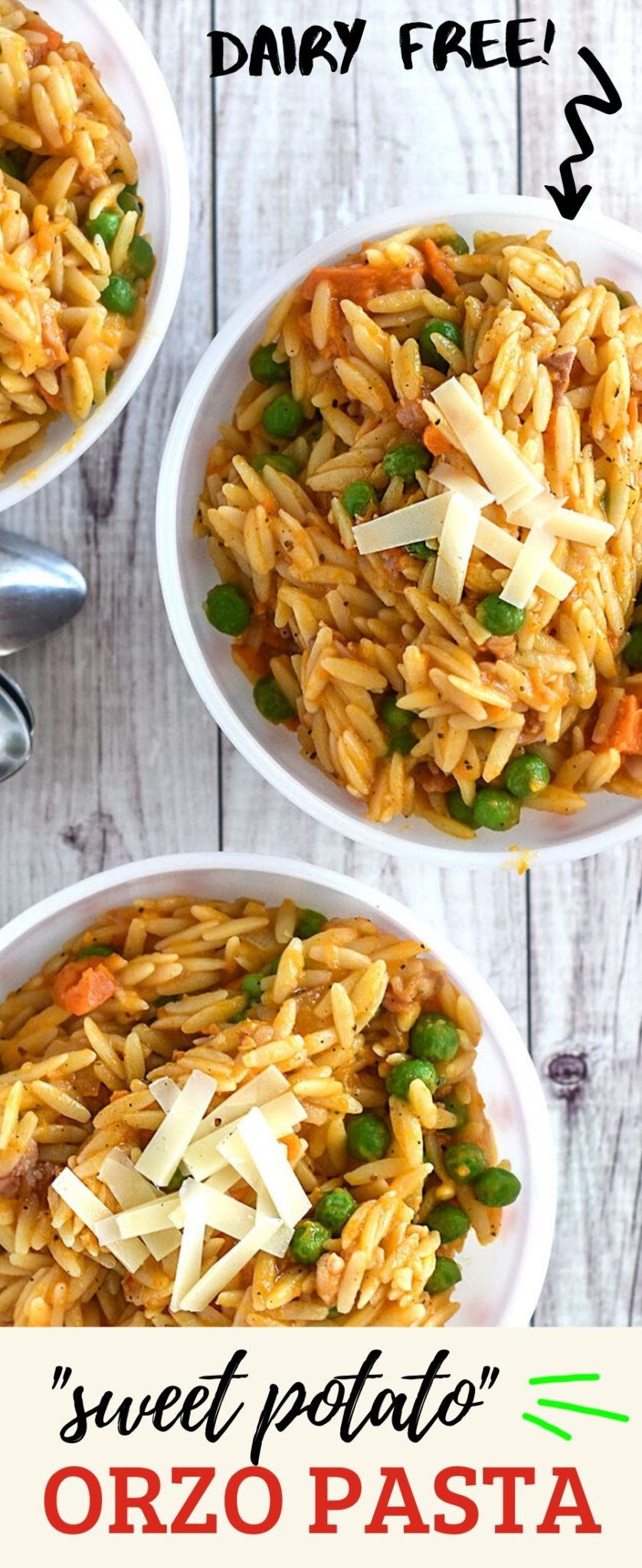 Creamy Sweet Potato Orzo is dairy-free and delicious!