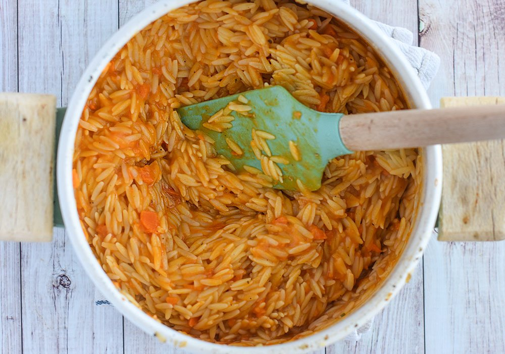 Orzo pasta with creamy sweet potato sauce