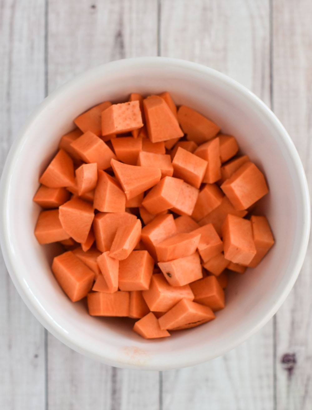chopped sweet potato in a bowl