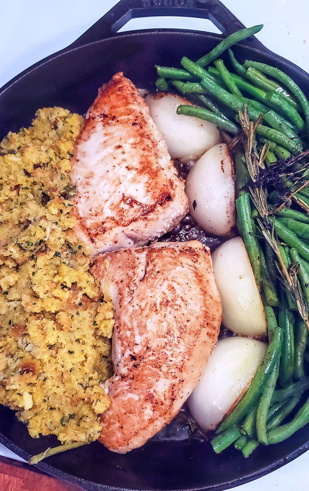 An entire turkey tenderloin dinner in one pan.