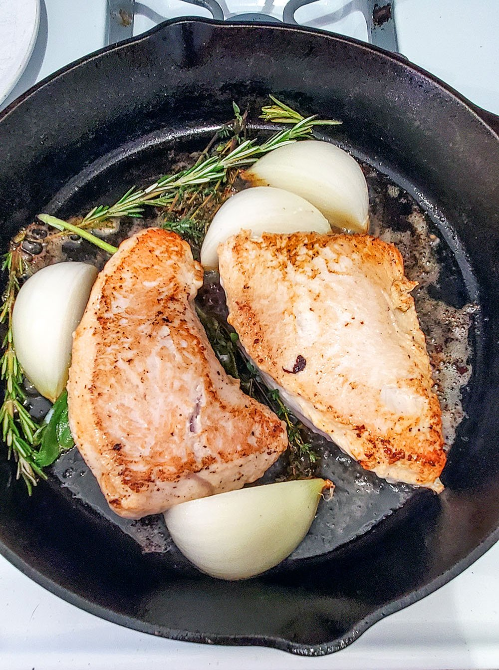 Turkey tenderloins sauteed on the stove and baked in the oven.