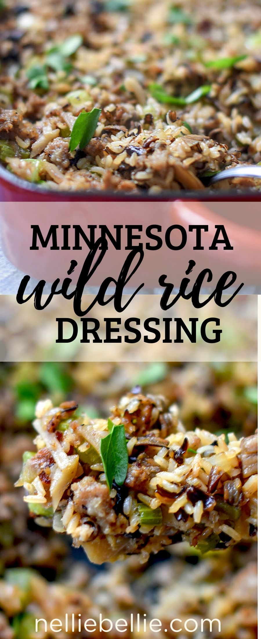 A Minnesota recipe for wild rice dressing that is simple and delicious. Using canned wild rice and ready-to-make brown rice, this is an easy dish for your holiday table! #wildrice #dressing #stuffing #casserole #minnesota
