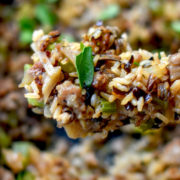 Spoonful of wild rice dressing